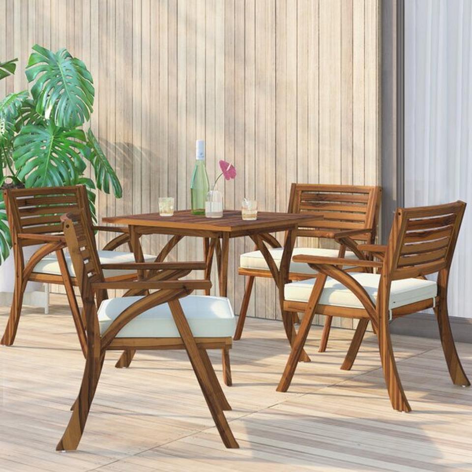 Mercury Row® Ajax 5 Piece Dining Set with Cushions & Reviews | Wayfair