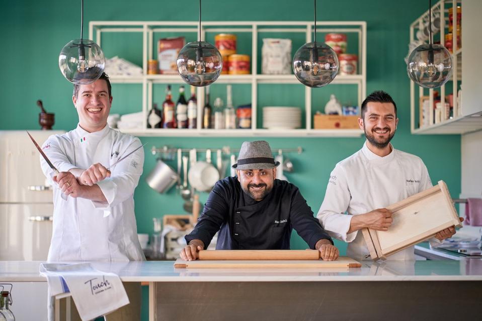 Fresh pasta-making with three Italian chefs: Matteo Giuliani, Max Amini, and Stefano Acciai