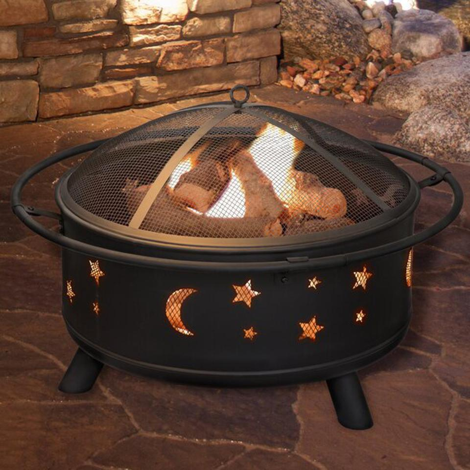 Millwood Pines Jackman Star and Moon Steel Wood Burning Fire Pit & Reviews | Wayfair