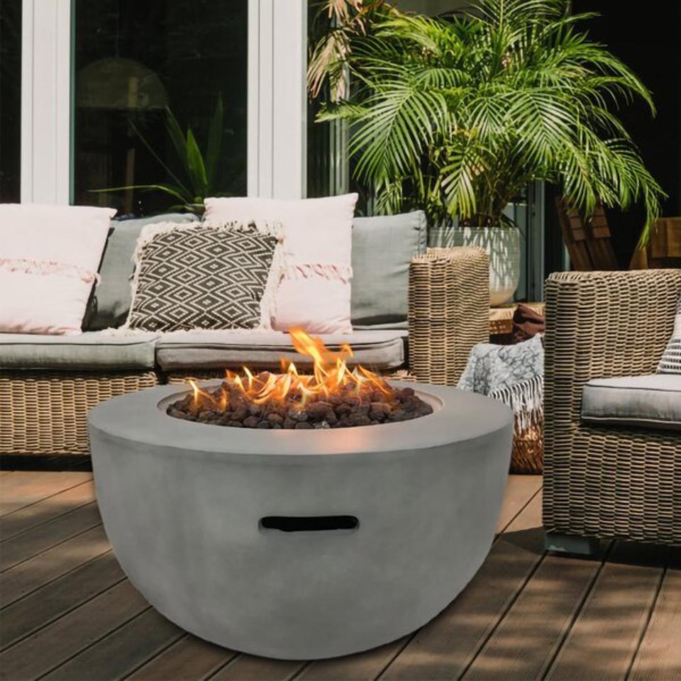 Ebern Designs Allejah Concrete Propane Fire Pit | Wayfair