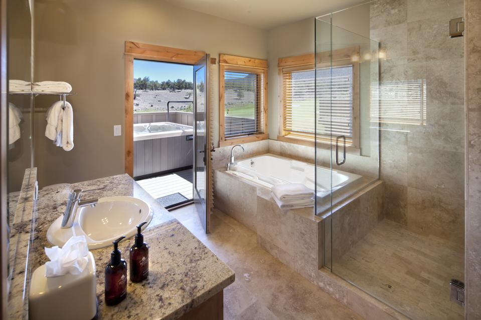 luzury bathroom and outdoor hot tub