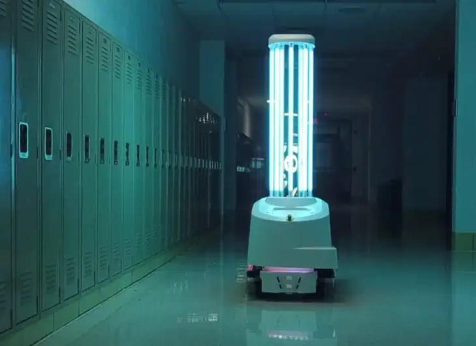 One of Blue Ocean Robotics robots, the UVD robot. It cleans public spaces with UV light.