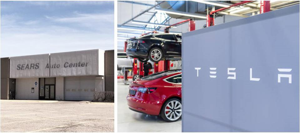A Tesla Service Center, will fill a Sears Auto Center in West Town Mall in Knoxville, TN.