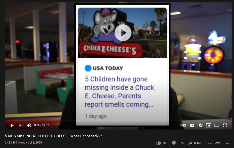A screenshot of the 5 children from Arcade Craniac who are missing at Chuck E Cheese.