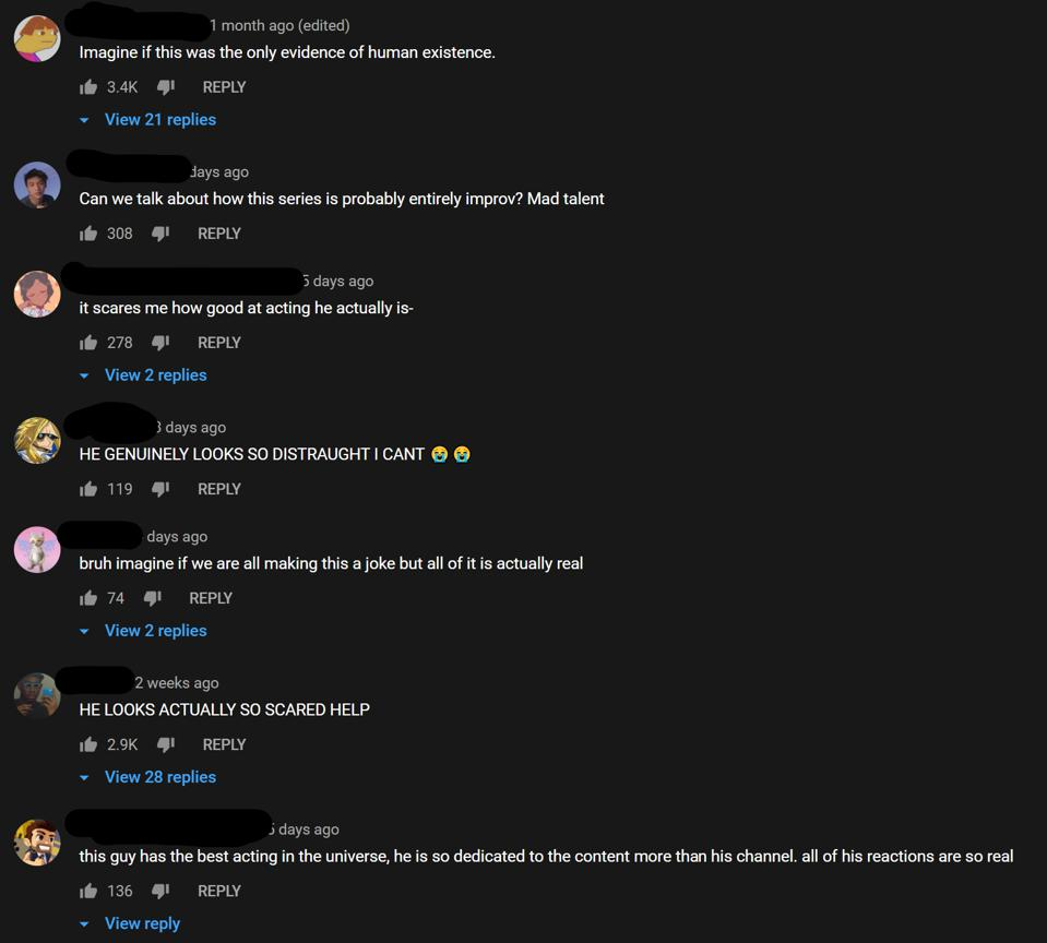 The YouTube comments section for one of the videos from Arcade Craniacs 3am