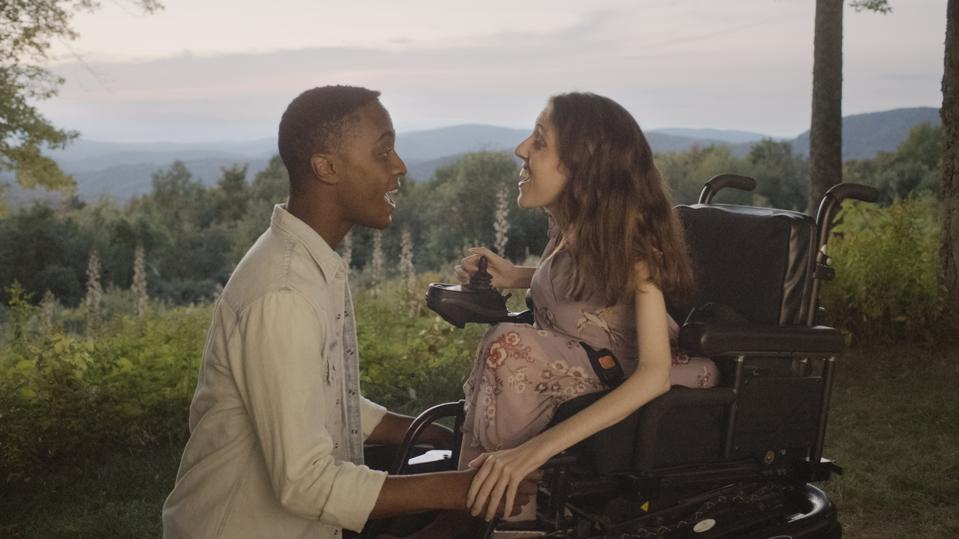 Teen dreams Sage in a wheelchair played by Shannon Devido and Tony (Ricky Wilson Jr) in 'Best Summer Ever'