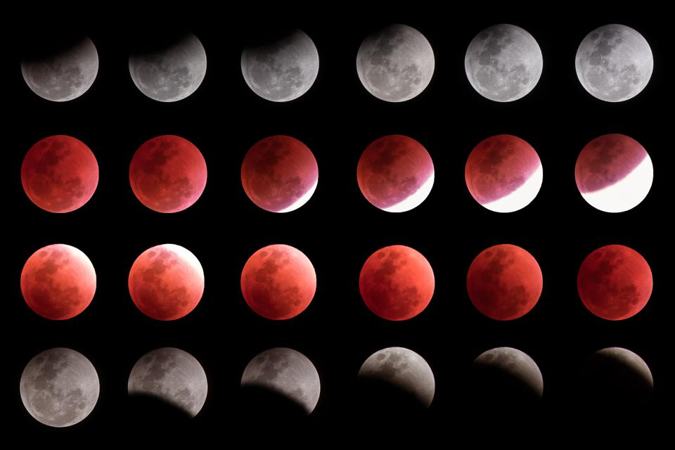 A total lunar eclipse is really five different phases—penumbral partial, total, penumbral and then partial as the event peaks and then goes into reverse.