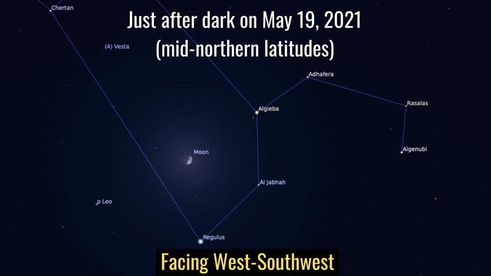 Wednesday, May 19, 2021: First Quarter Moon and Regulus