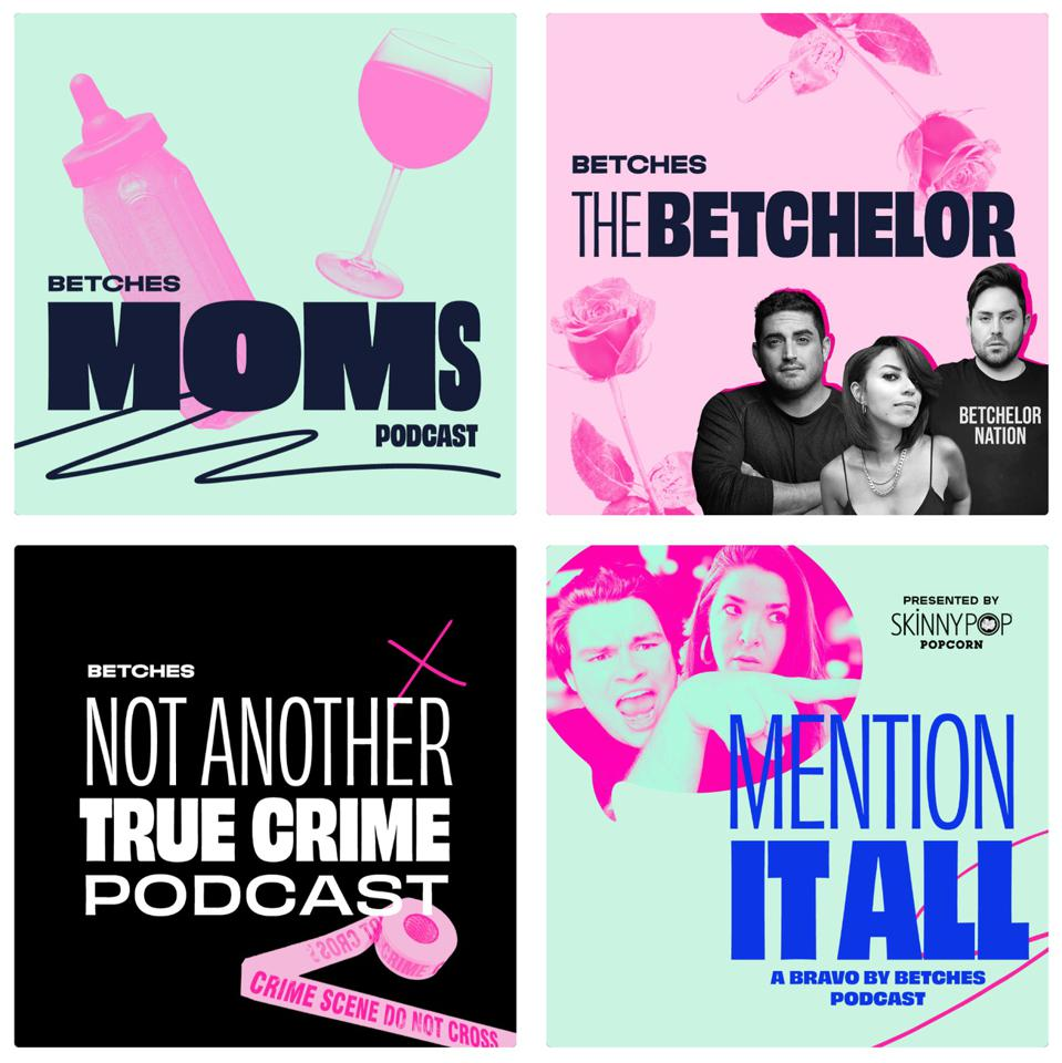 Screengrab of six different podcasts produced by Betches Media