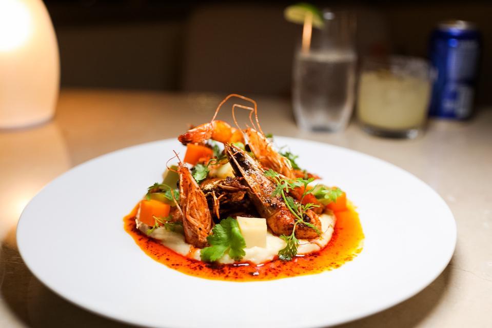 CANCUN, MEXICO - Head on shrimp prepared by Chef Tiago Aceituno at Blanca Blue at the Garza Blanca Spa & Resort