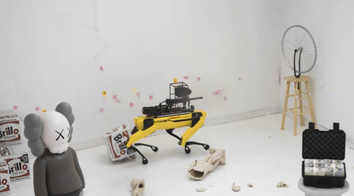 robot dog with paintball gun.