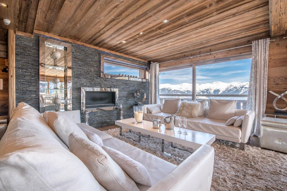 luxury swiss chalet living room french alps courvechel 1850