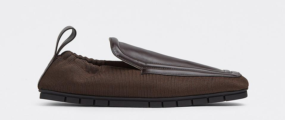 Leather and technical fabric loafers
