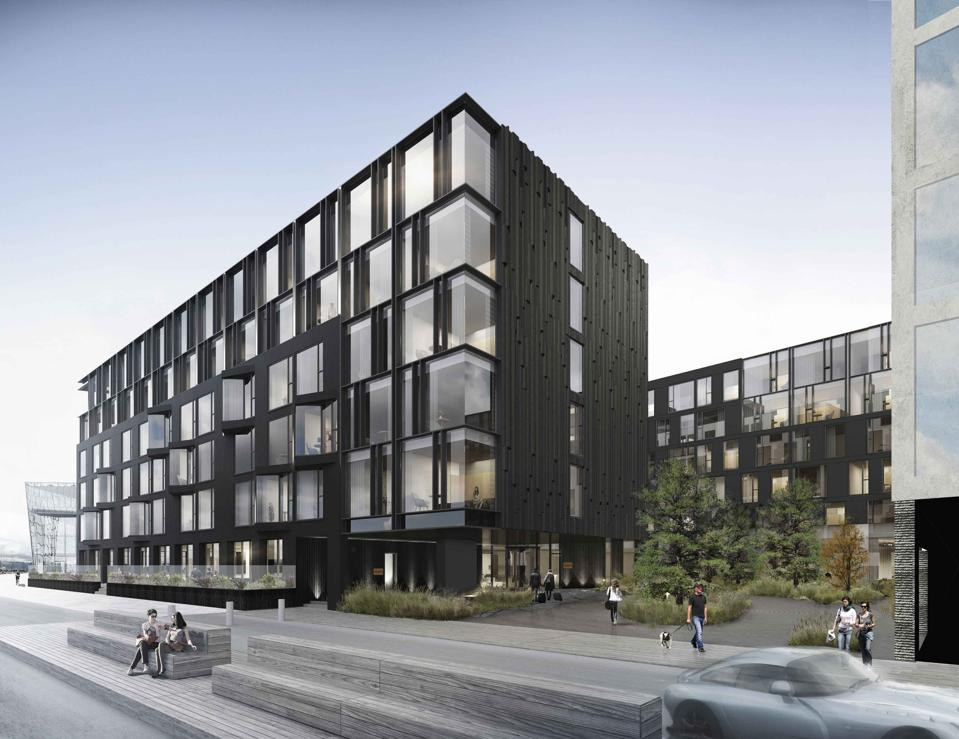 A rendering of the modern, ebony-and-glass EDITION hotel in Reykjavik, Iceland.