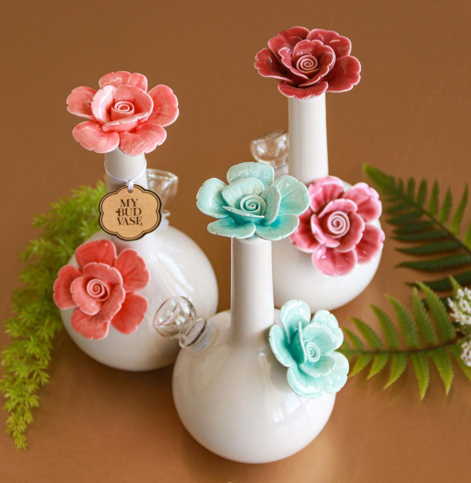 The rosette collection of discreet and pretty bongs from My Bud Vase.
