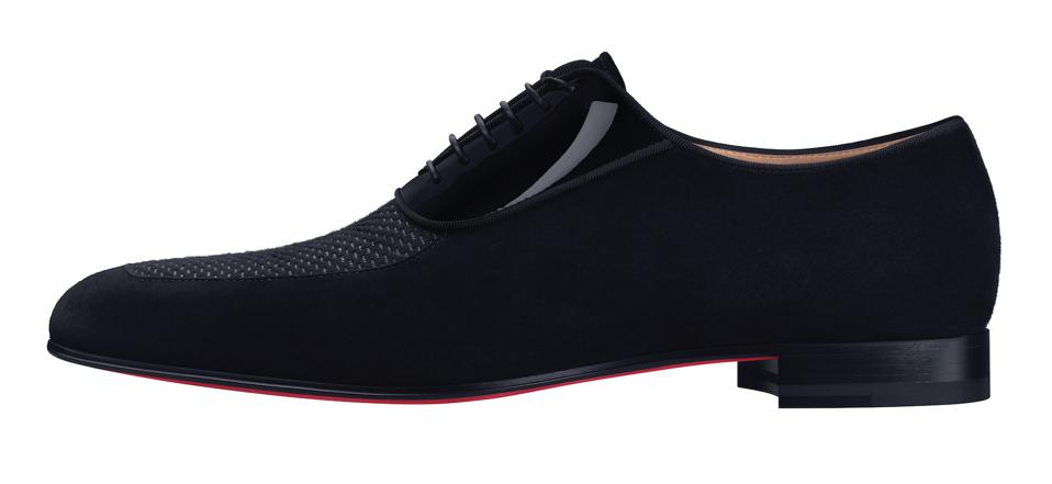 Lafitte' Black suede lace up dress shoe with tweed and patent leather upper