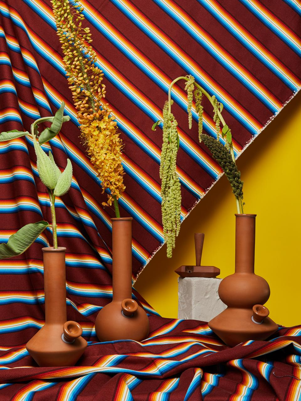 A collection of 'stonerware' bongs from Summerland with botanical props against a striped background.