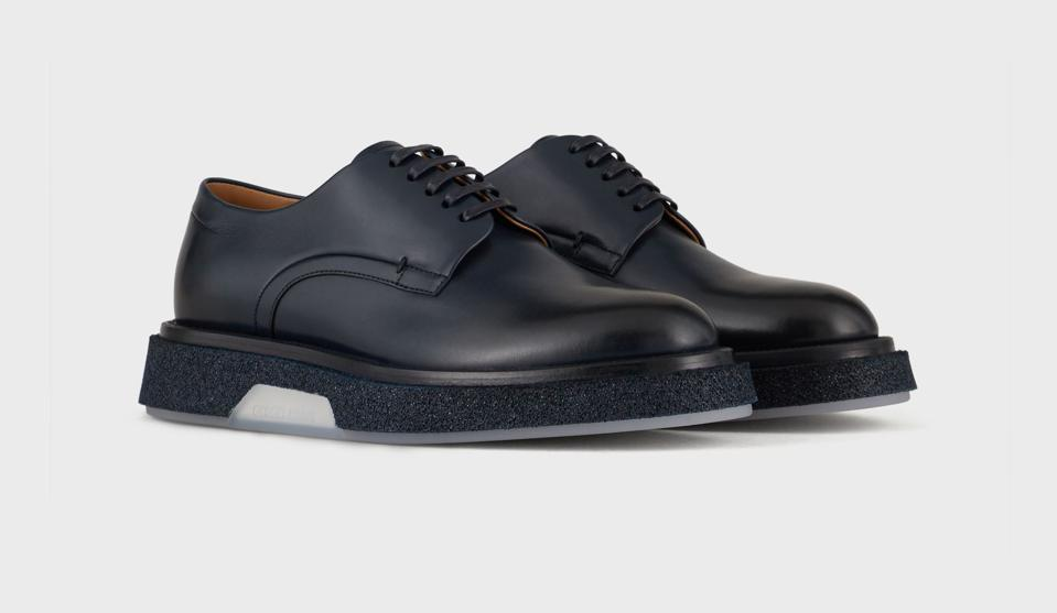Giorgio Armani Leather Derby Shoes in Midnight Blue