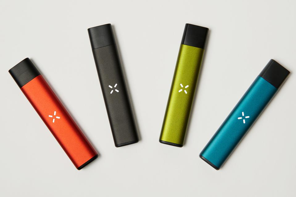 Four PAX Era Life vaporizers in different colors arranged in an arc pattern against a white background.