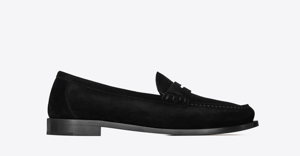 Suede men's penny loafers.
