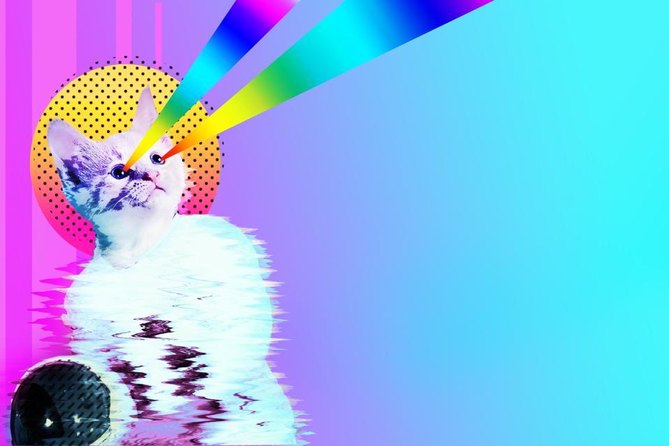 Pop art astronaut cat collage