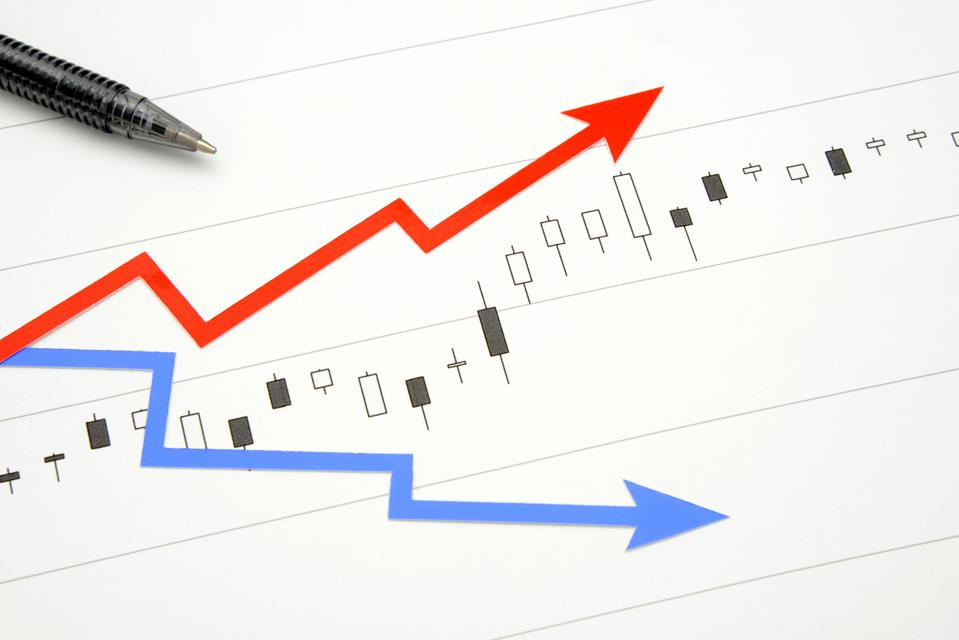 Stock chart with rising arrow and falling arrow