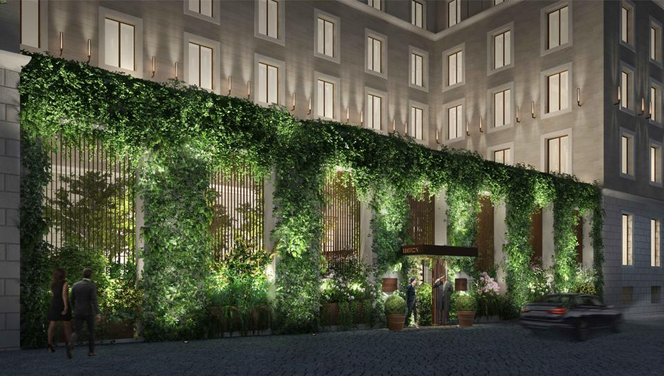 The greenery-covered facade of the EDITION Rome, located in Piazza Barberini in the Eternal City.