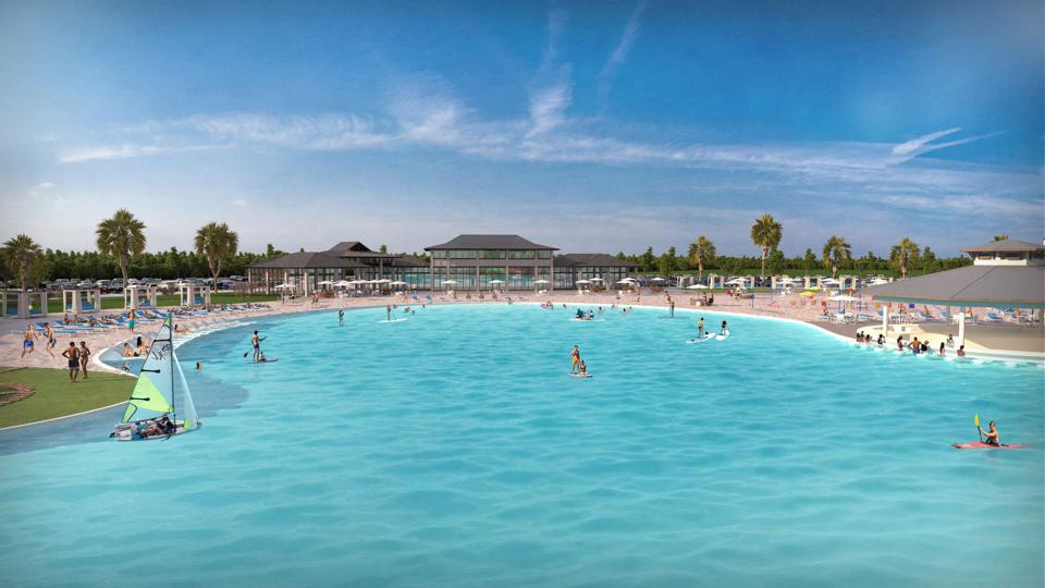 Blue lagoon and beach in West Dallas