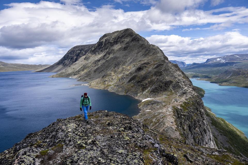 A hiker on Norway's spectacular Besseggen ridge.