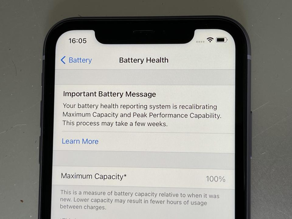 The new Battery Message that appears when you install iOS 14.5.