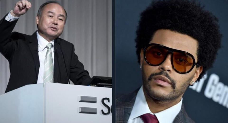 Two photos of SoftBank Chairman and Chief Executive Officer Masayoshi Son and The Weeknd
