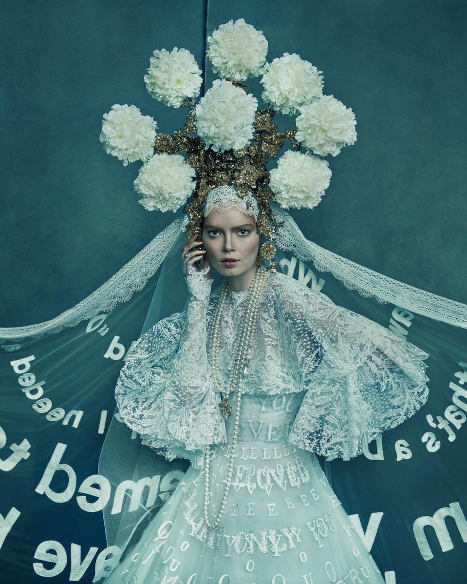 The Ukraine-inspired wedding dress designed by Reem Acra.