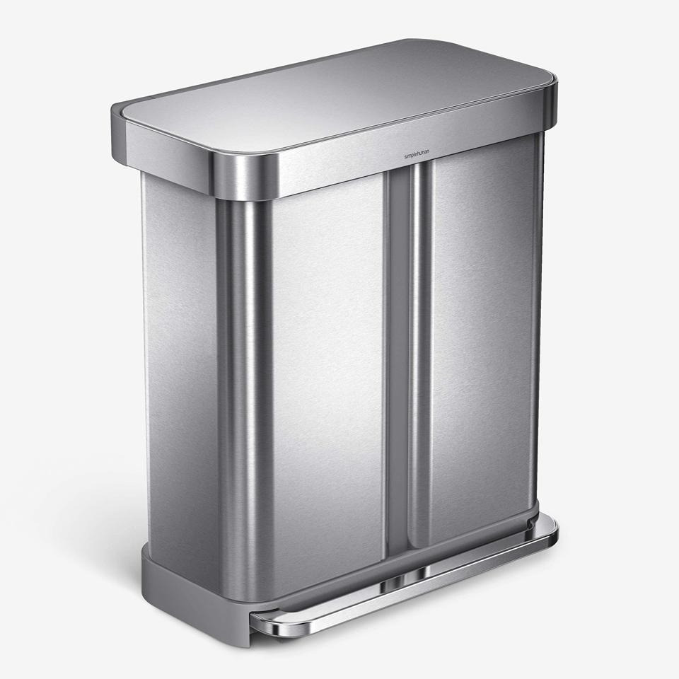 Simplehuman 58 Liter Rectangular Hands-Free Dual Compartment Recycling Kitchen Step Trash Can