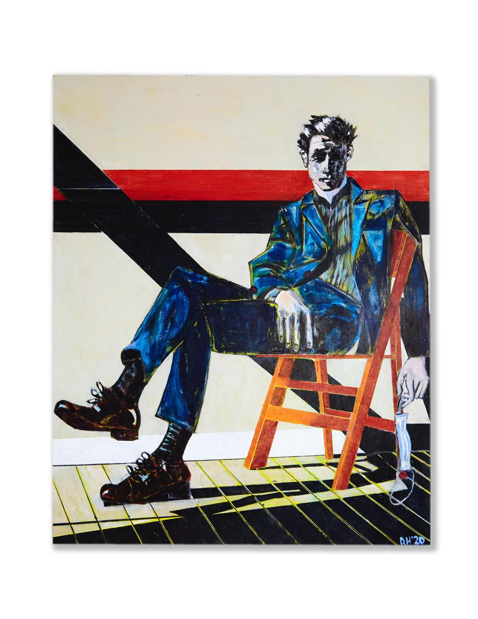 Man in Blue Suit sitting on an orange chair holding a face mask.  Artwork by Don Hershman.