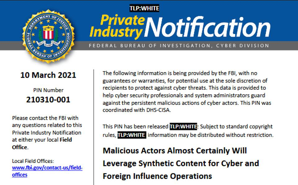FBI Private Industry Notification