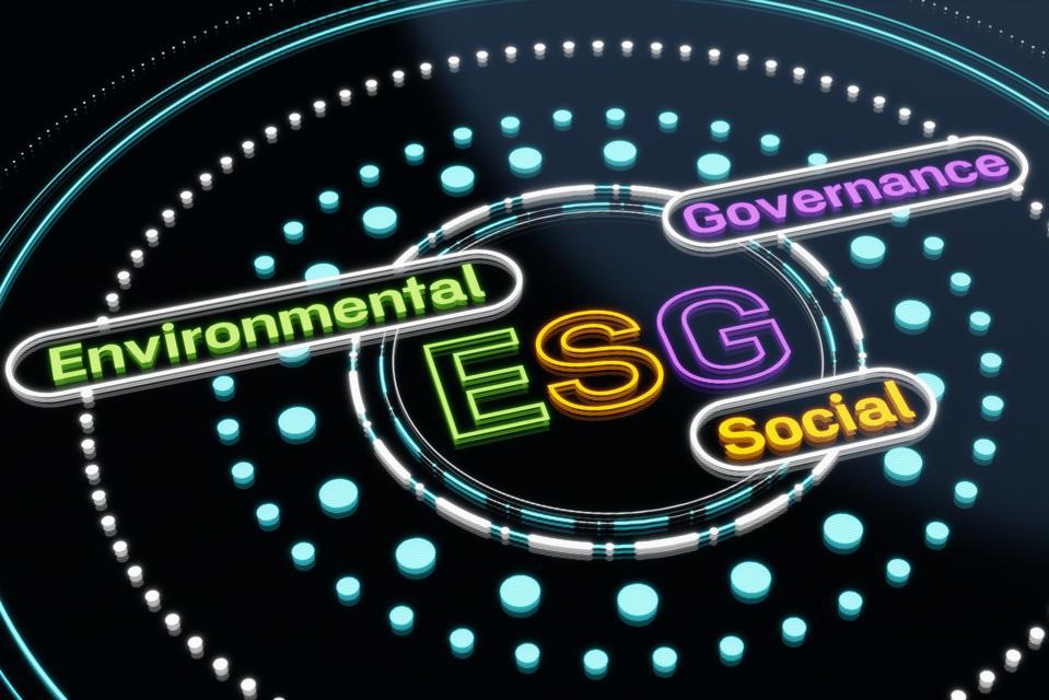 Computer screen displaying ESG concept design