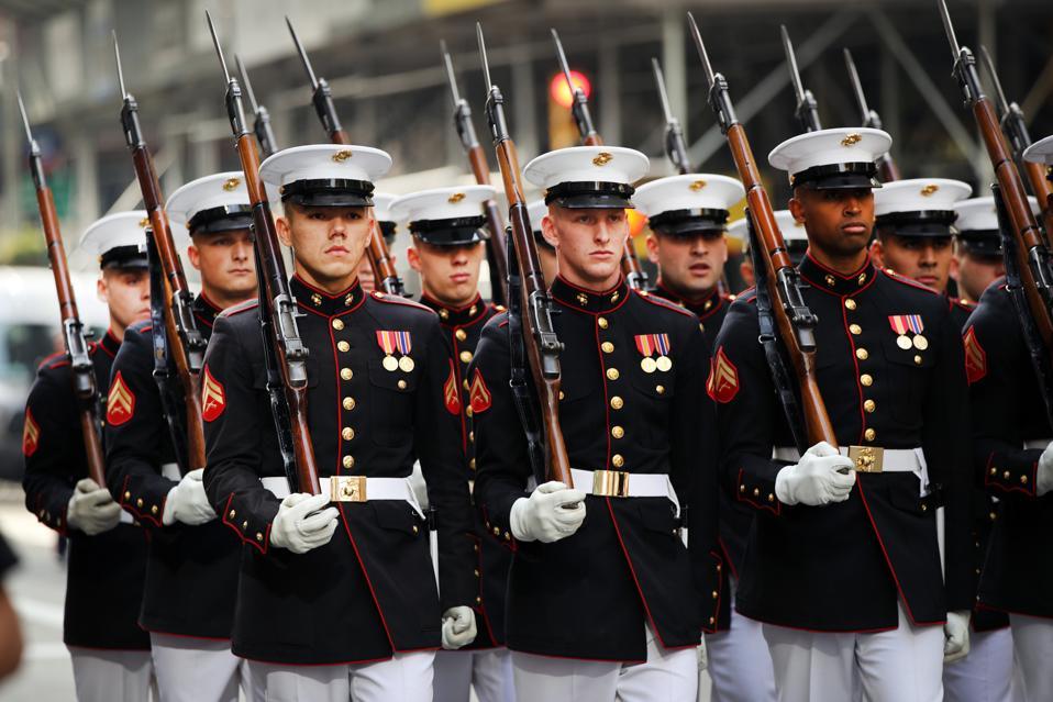 President Trump Attends New York City's Veterans Day Parade, Drawing Protestors