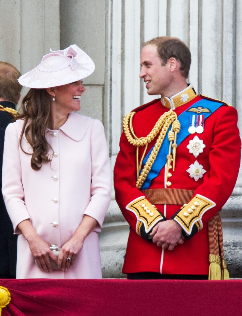 Prince William and Kate Middleton during Trooping The Colour in 2013