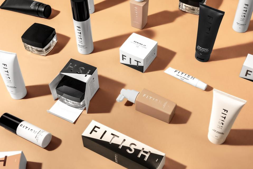a number of skincare against beige background