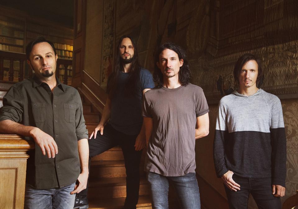 Gojira band members left to right: Jean-Michel Labadie (bass), Christian Andreu (guitar), Joe Duplantier (guitar, vocals), Mario Duplantier.