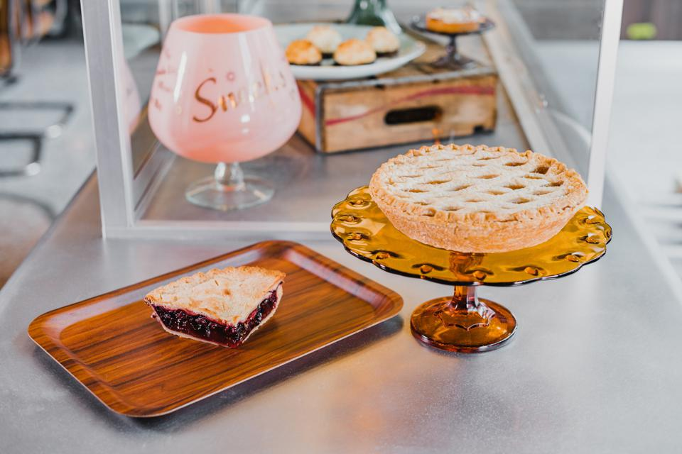 Pie case with a retro diner feel.