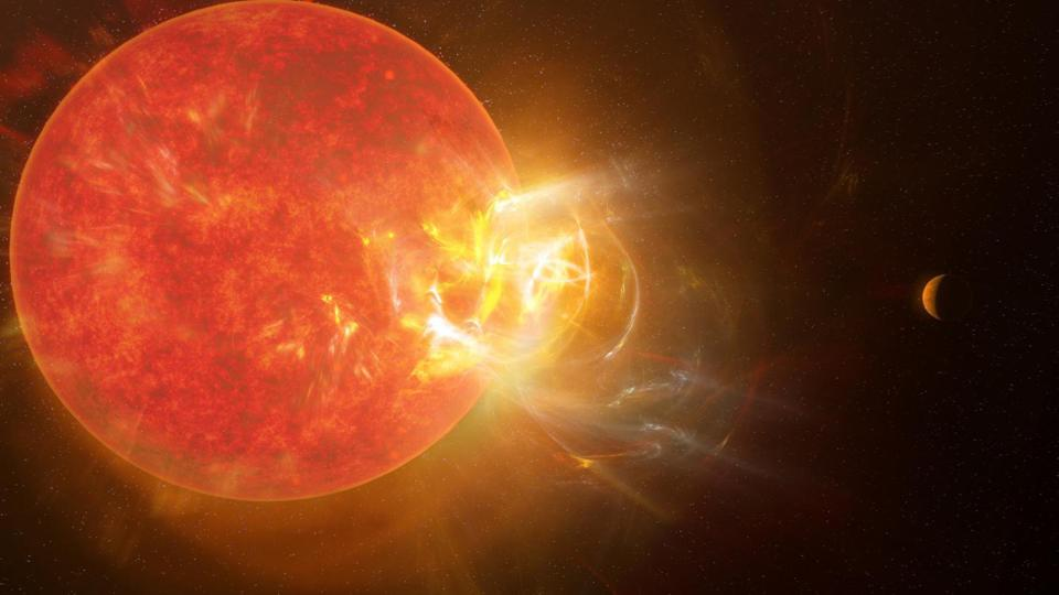 Artist's conception of the violent stellar flare from Proxima Centauri discovered by scientists in 2019 using nine telescopes across the electromagnetic spectrum, including the Atacama Large Millimeter/submillimeter Array (ALMA). Powerful flares eject from Proxima Centauri with regularity, impacting the star's planets almost daily.