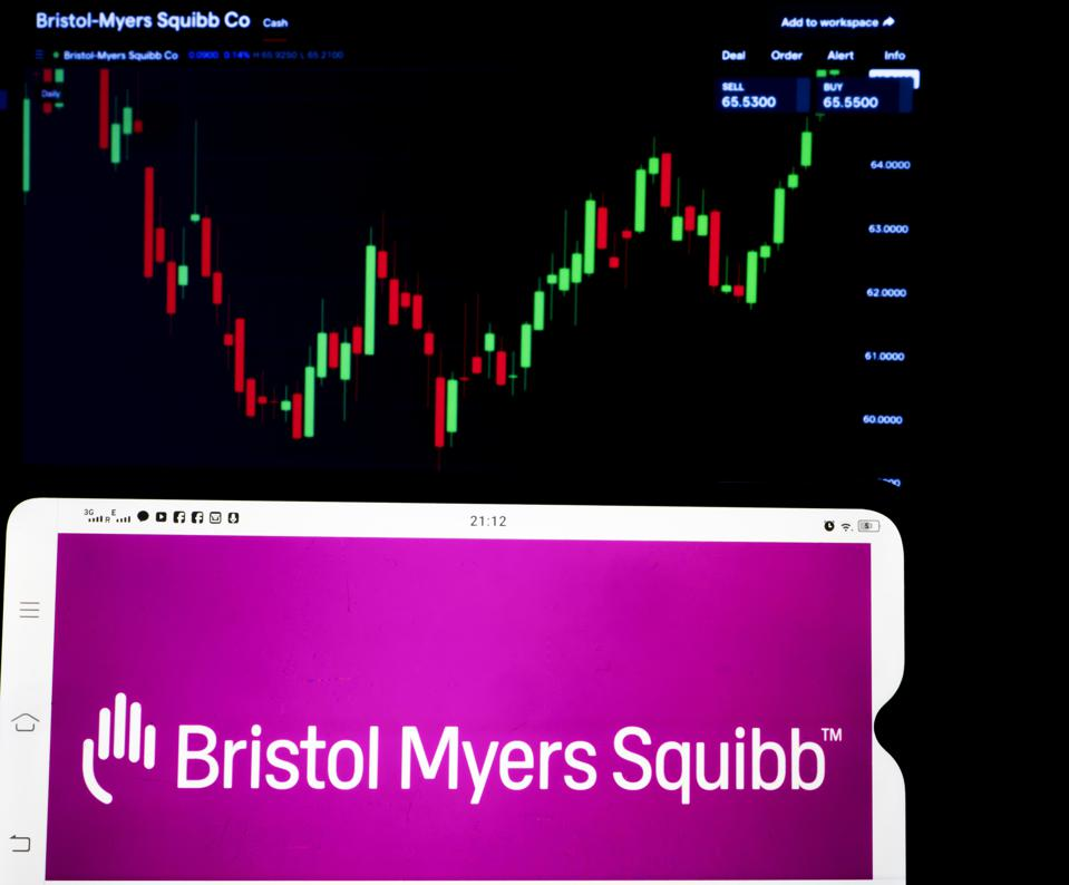 In this photo illustration, Bristol-Myers Squibb Company...