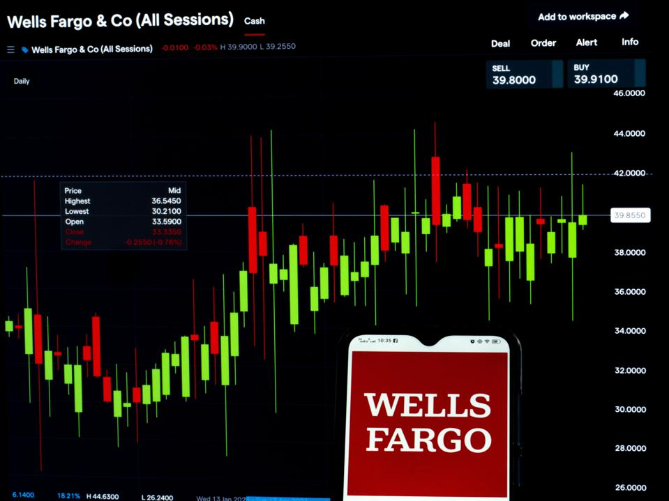 In this photo illustration, a Wells Fargo & Co logo seen...