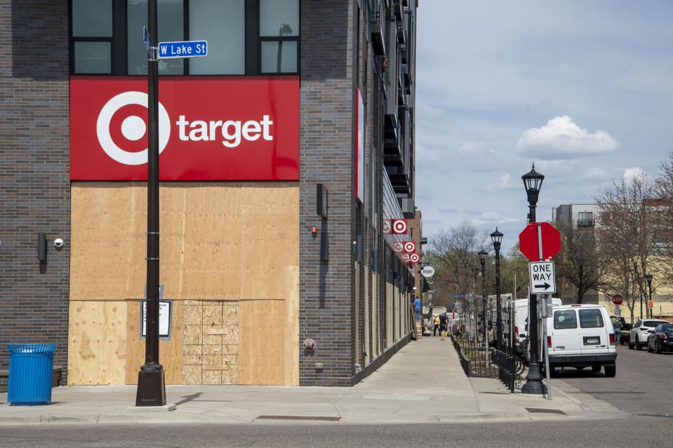 Minneapolis, Minnesota. Target store boarded up during the Derek Chauvin trial in case of rioting.