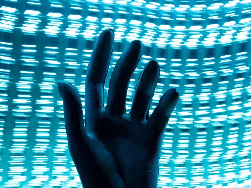 Silhouette of a hand. Concept of personal data storage.