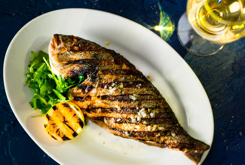 a grilled sea bream with Lure Fishbar