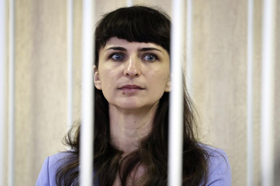 Belarusian journalist Katsiaryna Barysevich attends a court hearing in Minsk in 2021.