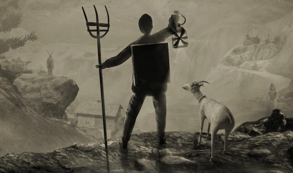 Mundaun logo and image of man holding lantern next to goat
