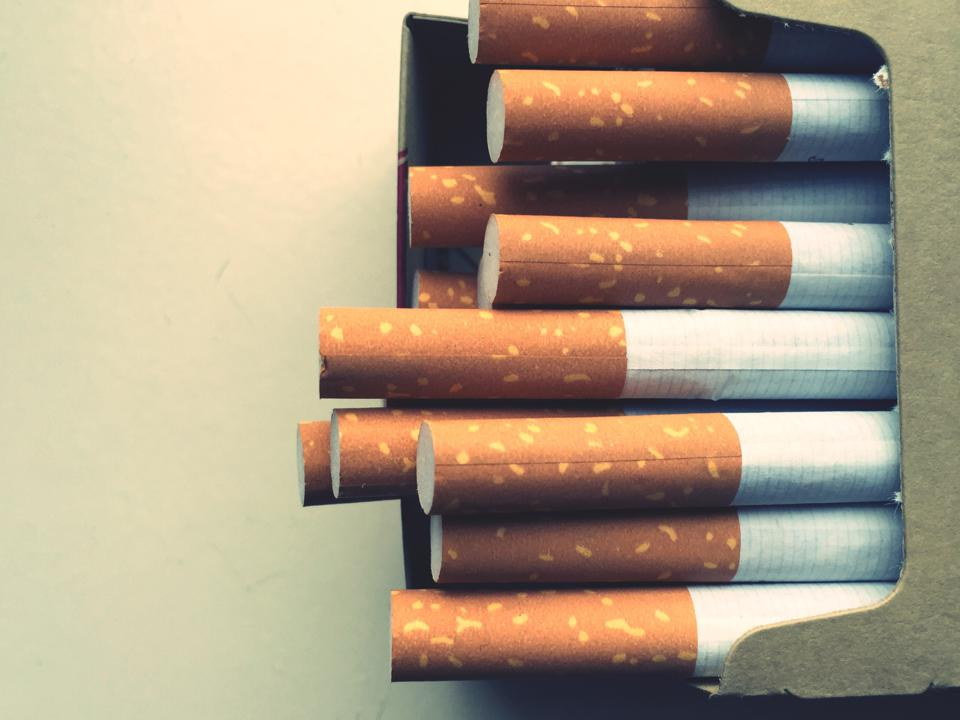 Close-Up Of Cigarette Pack On Table